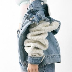 BDG Urban Outfitters Denim Sherpa Trucker Jacket